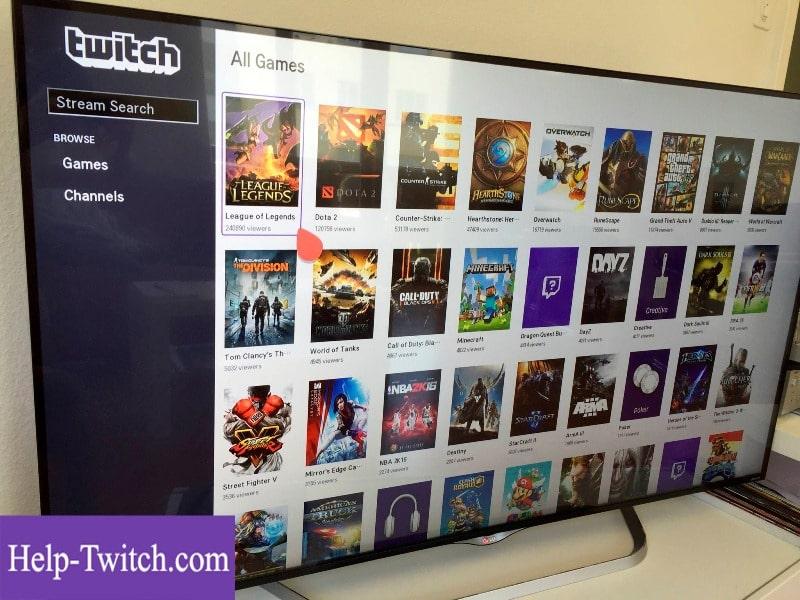 как пользоваться twitch на телевизоре